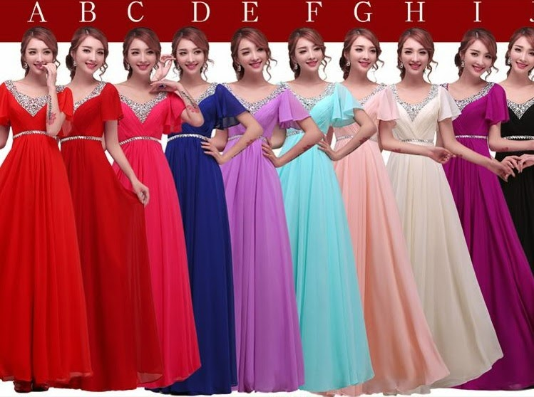 Sequin V-Collar Short Sleeve Multi-color Bridesmaids Maxi Dress