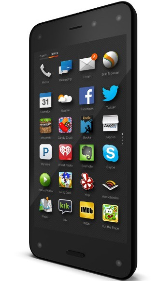 Processore quad core, fotocamera da 13 mega pixel, sensori sul display per Amazon Fire Phone