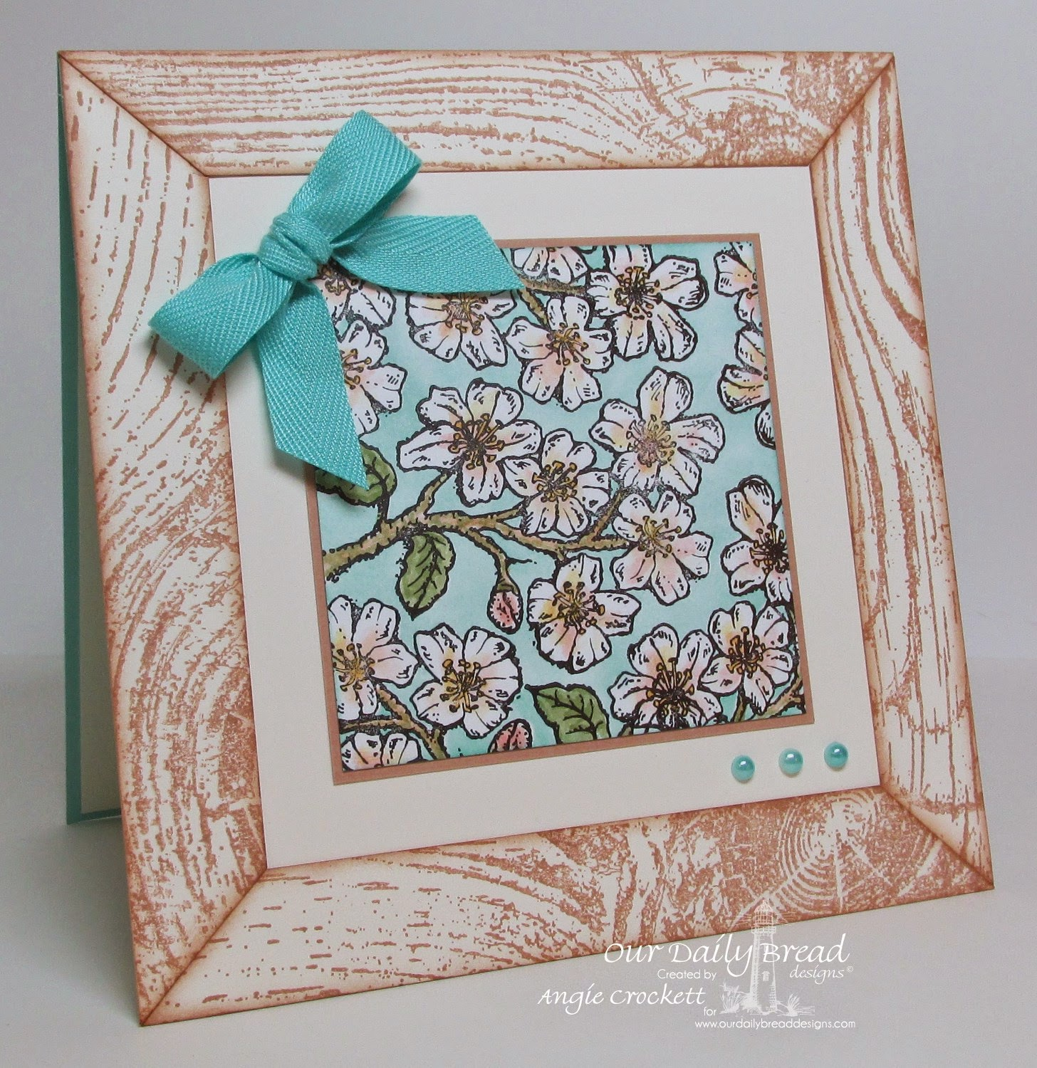 ODBD Wood Background and Cherry Blossom, Card Designer Angie Crockett