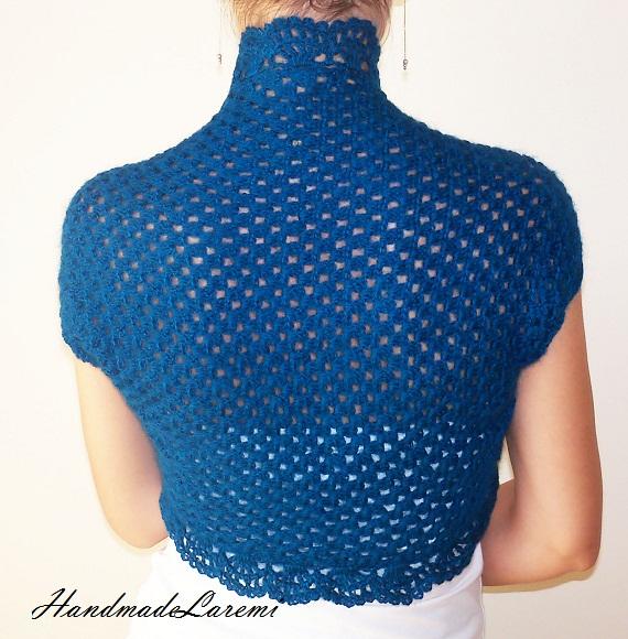 WEDDING LACE SHRUG / Crochet Bolero Jacket / Blue Lace Wedding Bolero ...