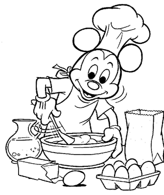 Mickey Mouse Cooking | Disney Coloring Pages
