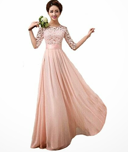 Lace Chiffon Prom Ball Party Dress Bridesmaid Formal Evening Gown