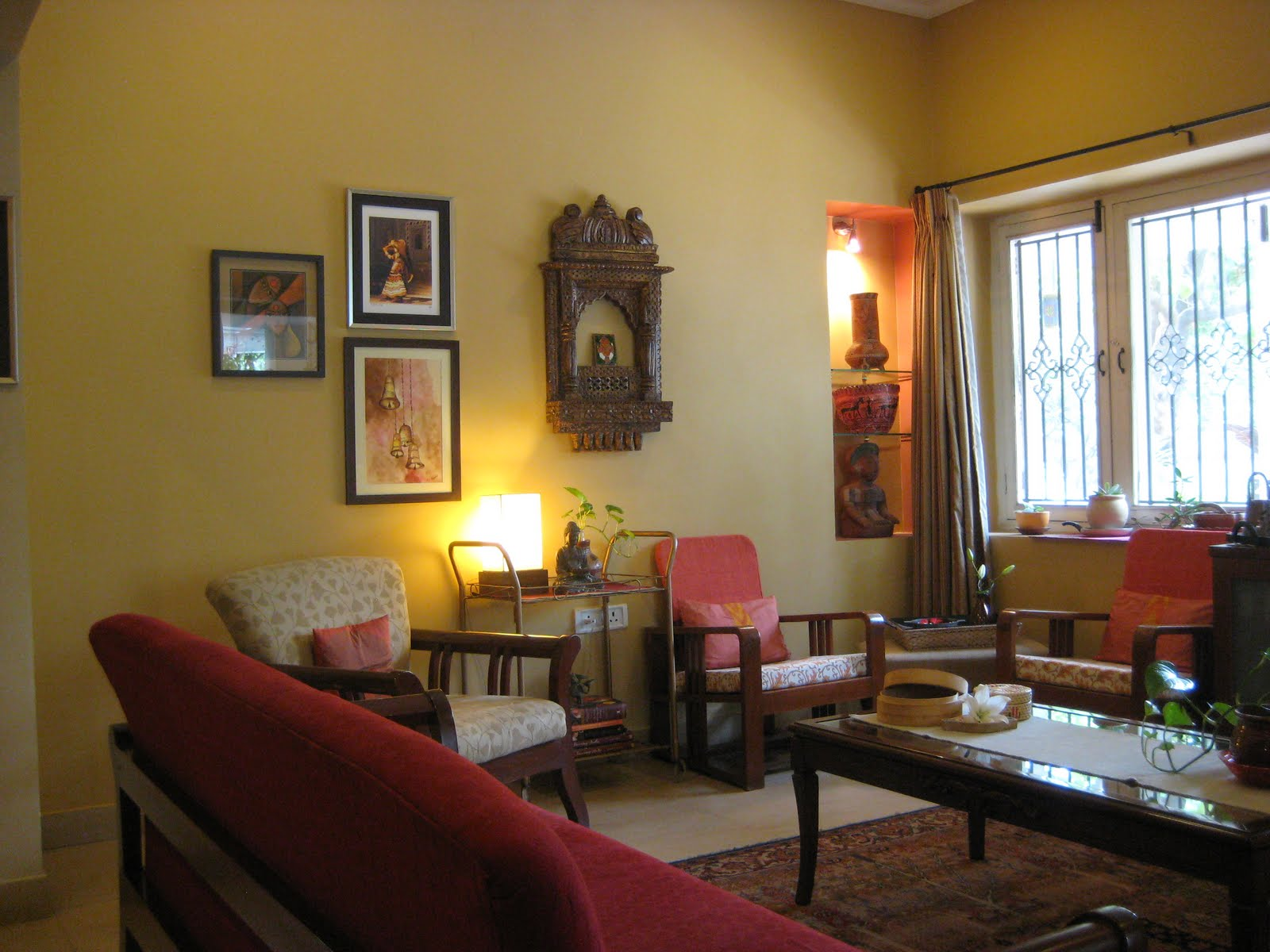 Saffron and silk makeover pics for Simple living room designs in india