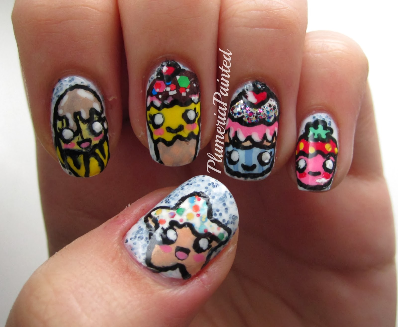 Plumeriapainted ultimate cute food nail art i saw this picture in google images and i did my version and thought id go all crazy with the shiny parts but i didnt but complexity is not for me prinsesfo Gallery
