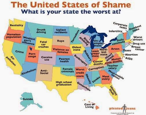 USA stereotype map - your state`s shame