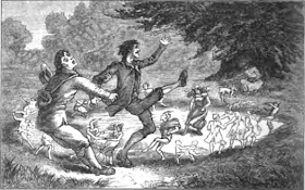 An illustration from 1880 of a man saving his friend from a fairy circle