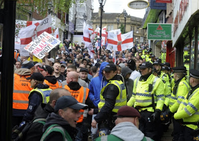 EDL protest in Rotherham town centre