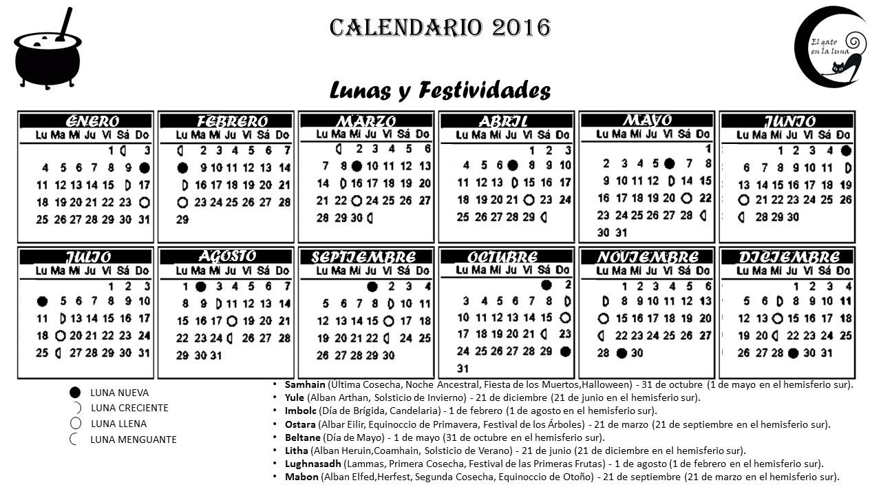 El Gato En La Luna Calendario Lunar 2016 Para Imprimir