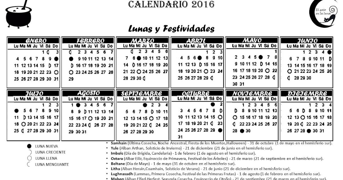 El gato en la luna calendario lunar 2016 para imprimir for Fase lunar octubre 2016
