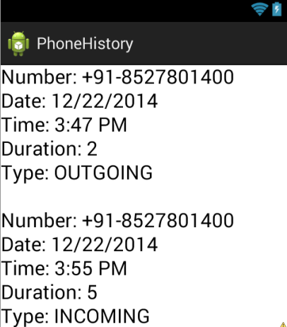 Incoming and Outgoing call log Details