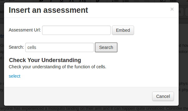 """Insert an Assessment"", with ""Search"" field filled in with ""cells"""