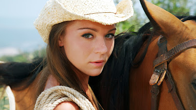 Cowgirl and Horse Beautiful Eyes HD Wallpaper