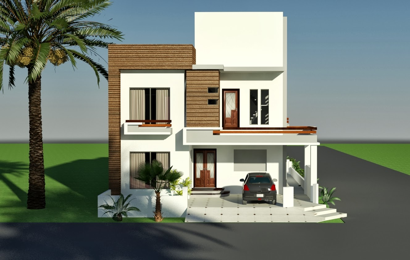 3d front 10 marla corner house plan design
