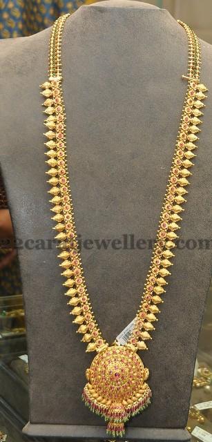 simple mango work gold haram jewellery designs
