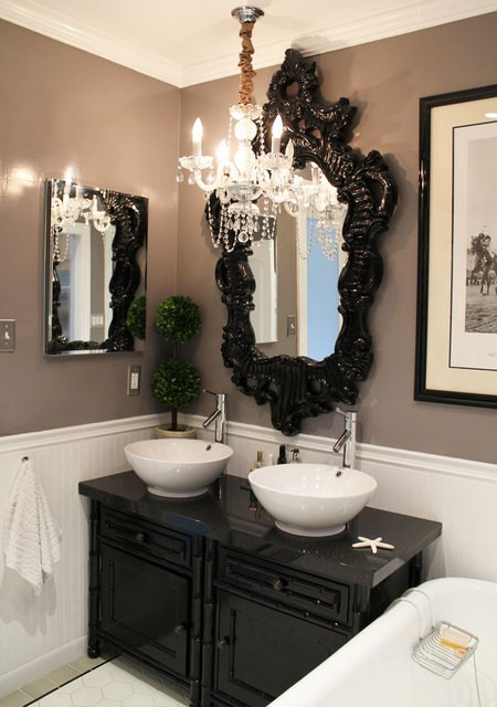 Black and White Bathroom Mirror
