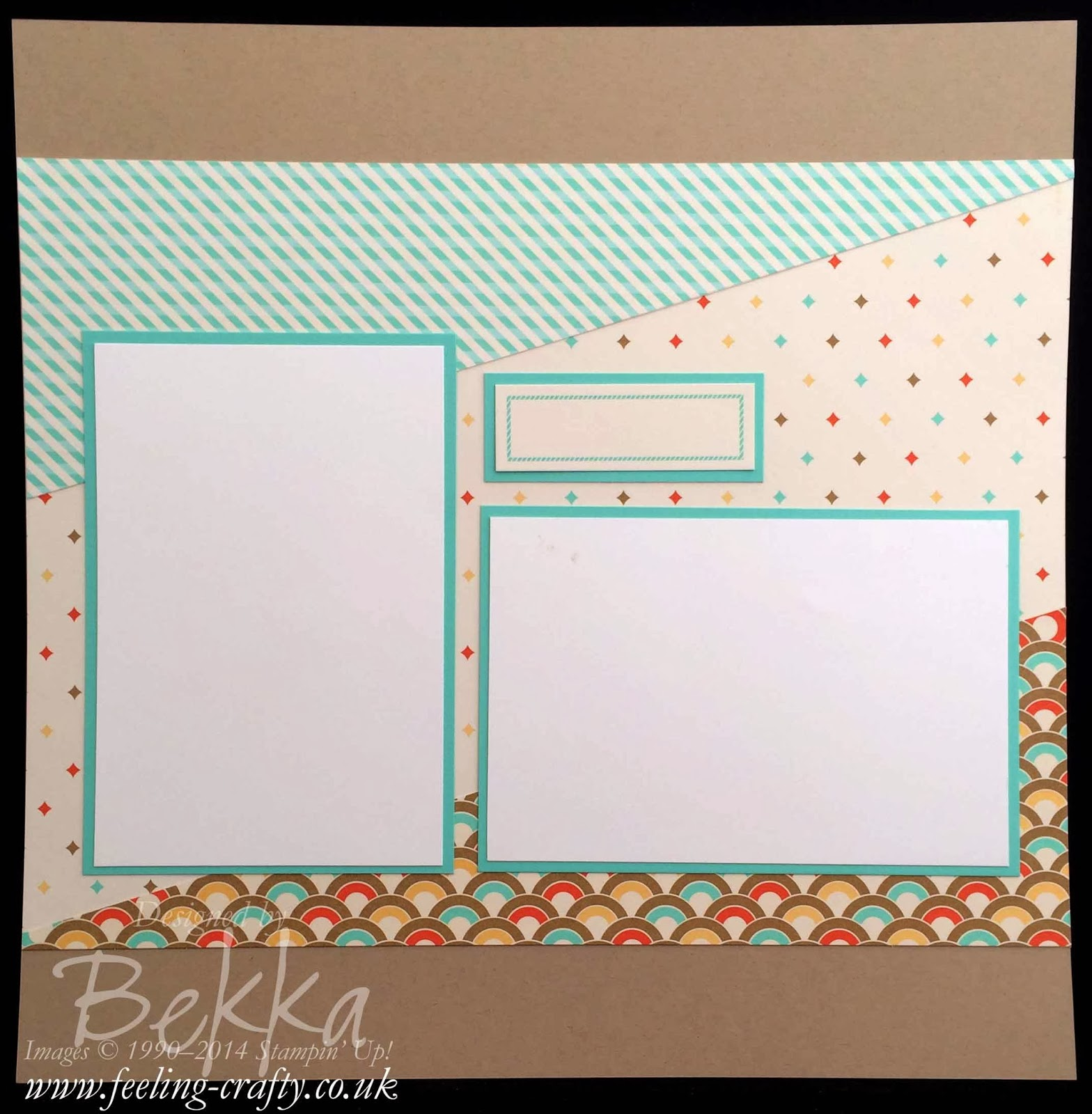 Retro Fresh scrpabook Start Point by UK based Stampin' Up! Demonstrator Bekka Prideaux - she used this to set a team challenge!
