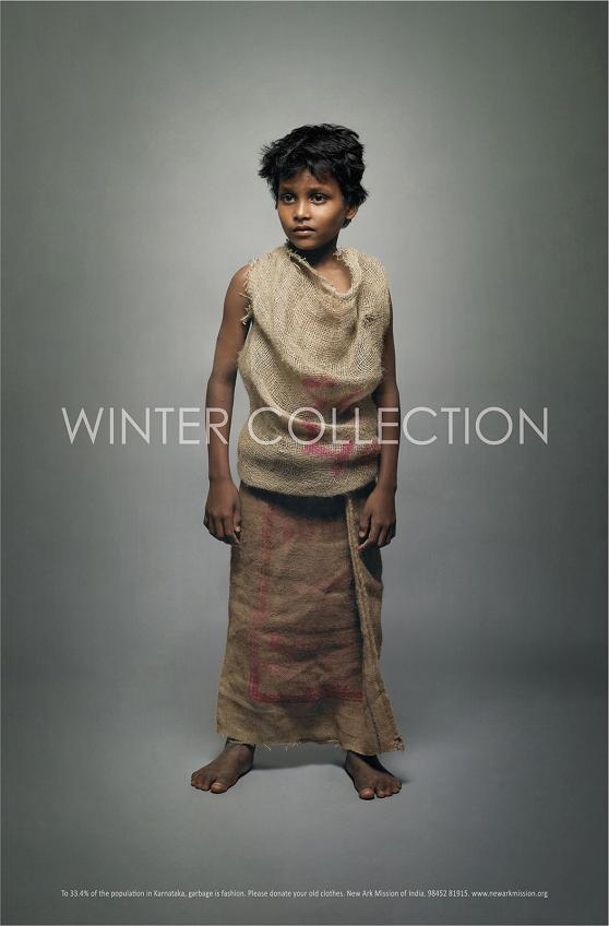 propaganda coleção inverno criança vestindo roupas trapos
