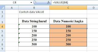 Contoh data rumus excel VALUE