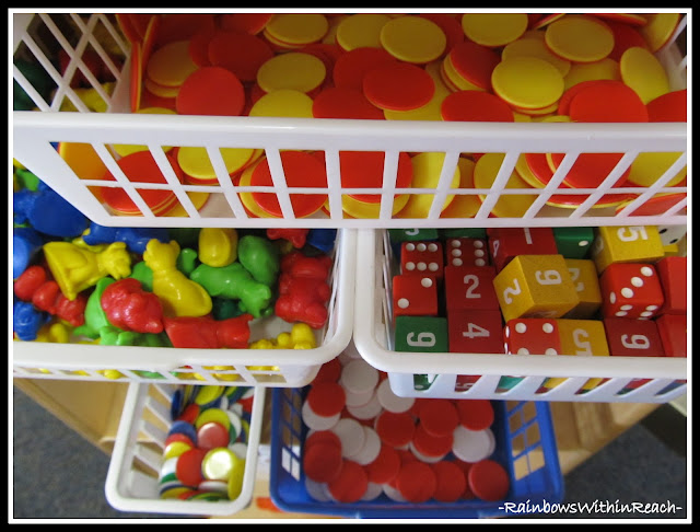 photo of: Math Manipulatives Organized for Classroom Usage