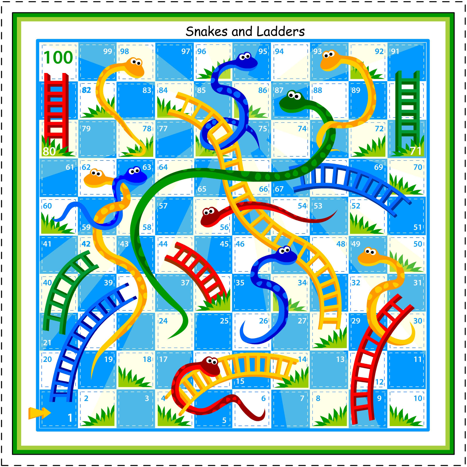 Kids Under 7: Snakes and Ladders board game
