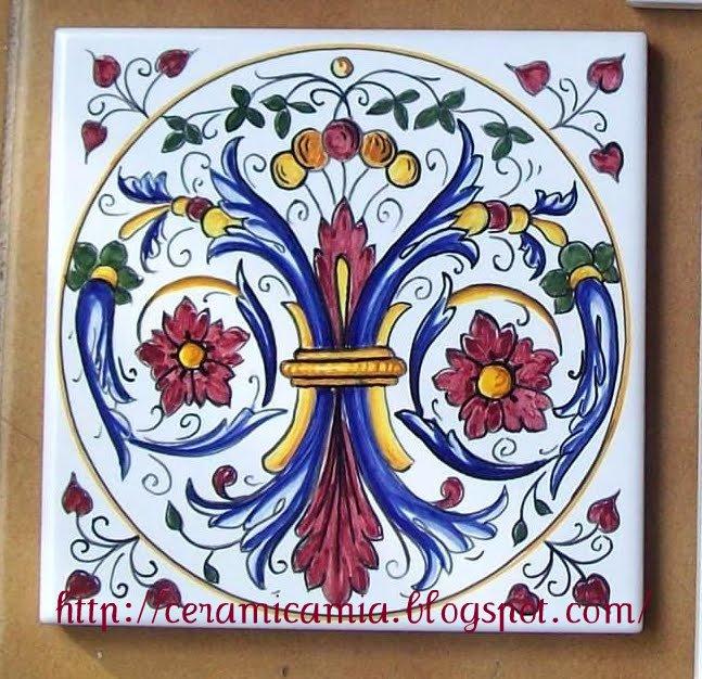 Ceramica che passione piastrelle di ceramica decorate a mano for Stencil per piastrelle bagno