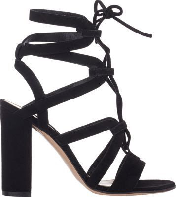Gianvito Rossi Black lace up chunky heel sandals