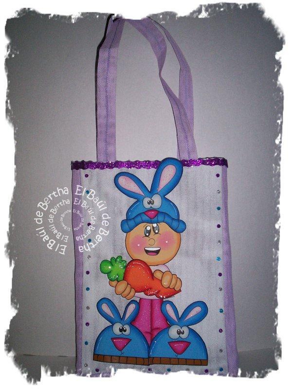 Bolsa en Yute para #Pascua niño disfrazado de #Conejo Fofucho%2BFelicesPascuas%2BBolsaYute