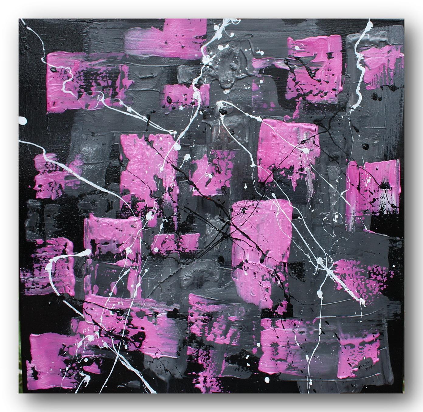 """Malerei von Celine: Abstrakte Malerei gespachtelt """"pink-schwarz-weiß"""""""