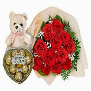 Rose &Teddy flowers delivery in Indonesia with price