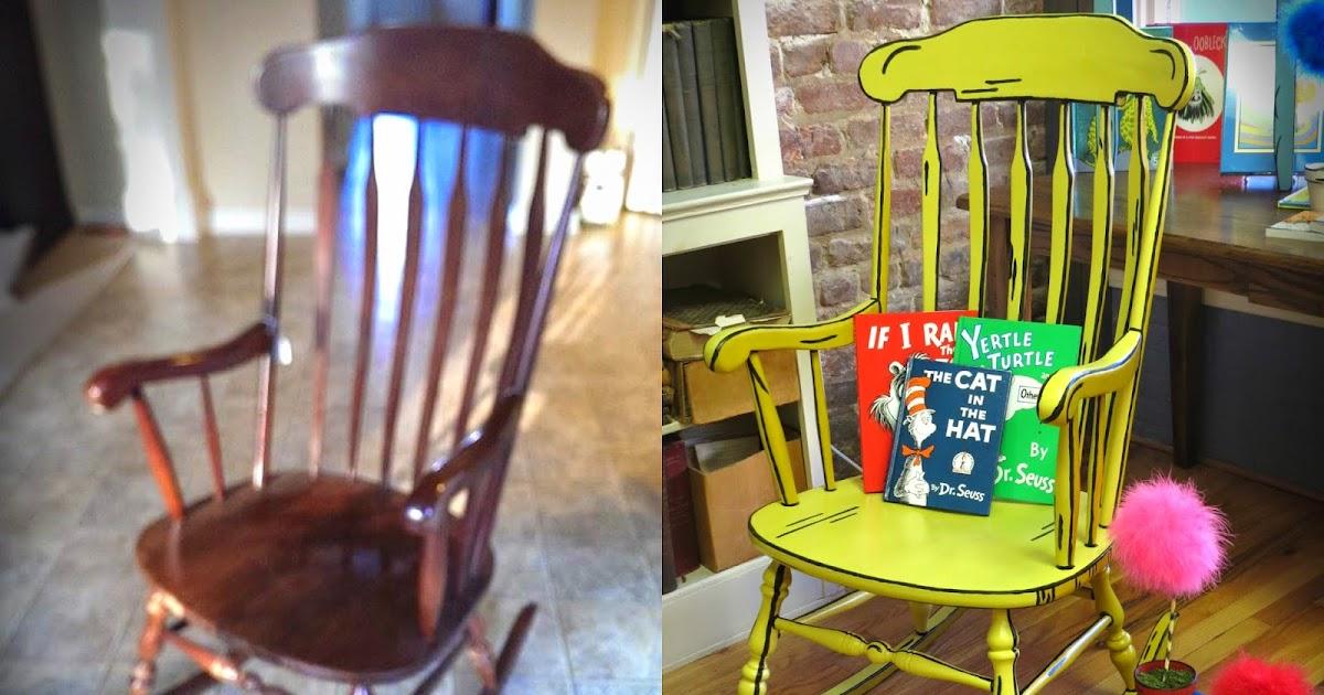 Uniquely Grace Illustrated 3d Rocking Chair Chalk