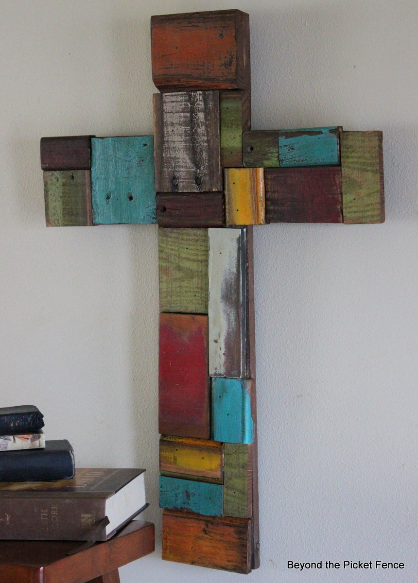 Beyond the picket fence patchwork scrap wood cross for Crafts made out of pallets