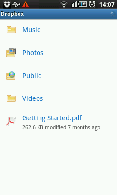 Android Dropbox Folders