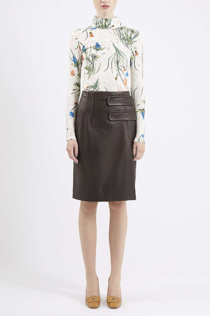 brown leather skirt, topshop unique leather skirt,
