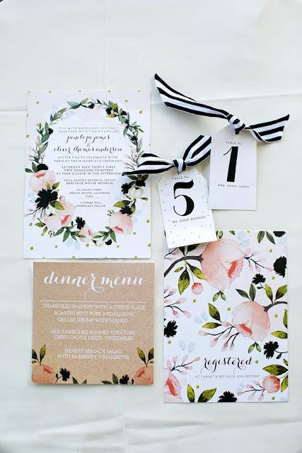 wedding invites with flowers