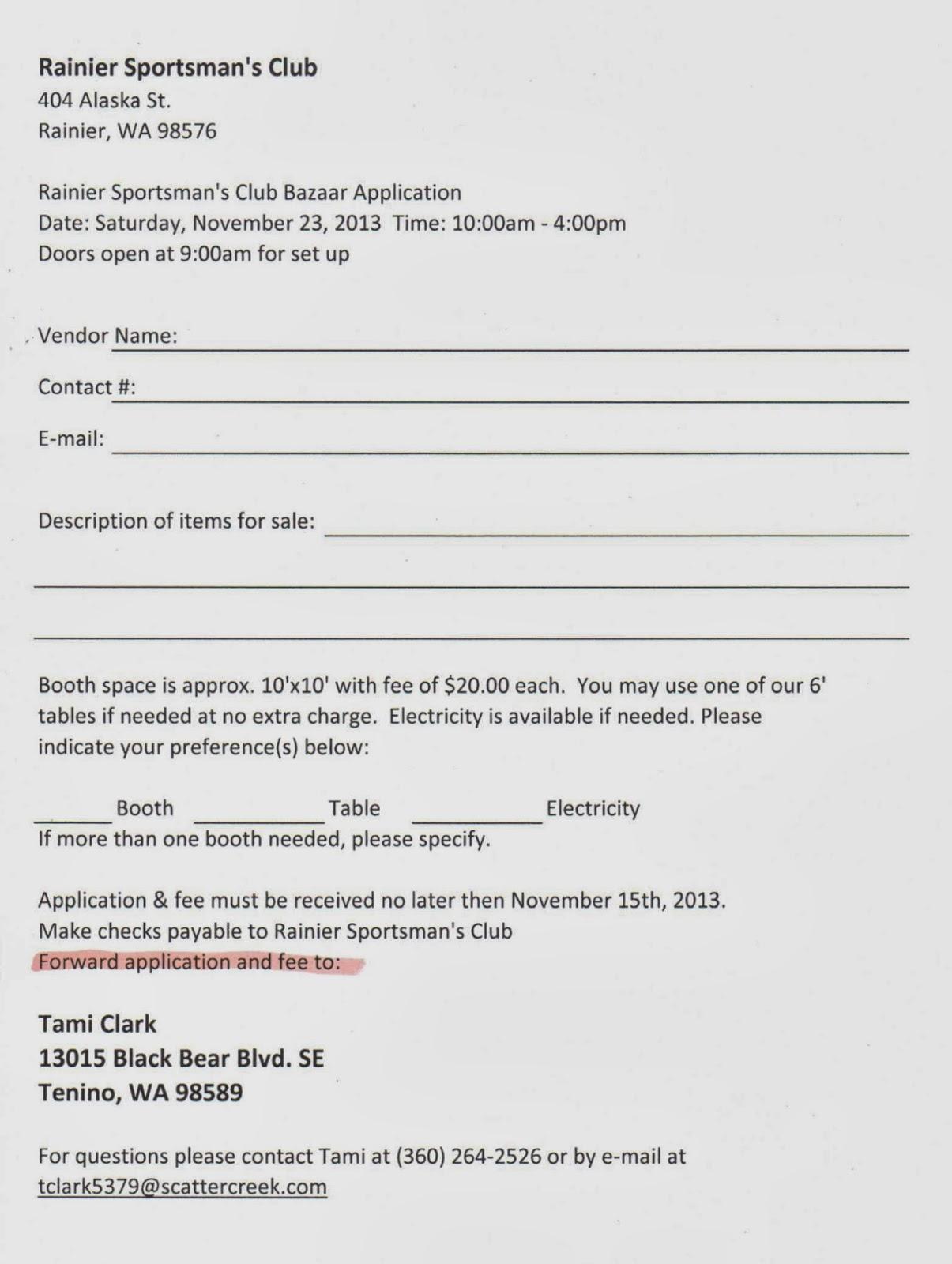 Rainier Lions Club Sportsman S Club Bazaar Vendors Needed