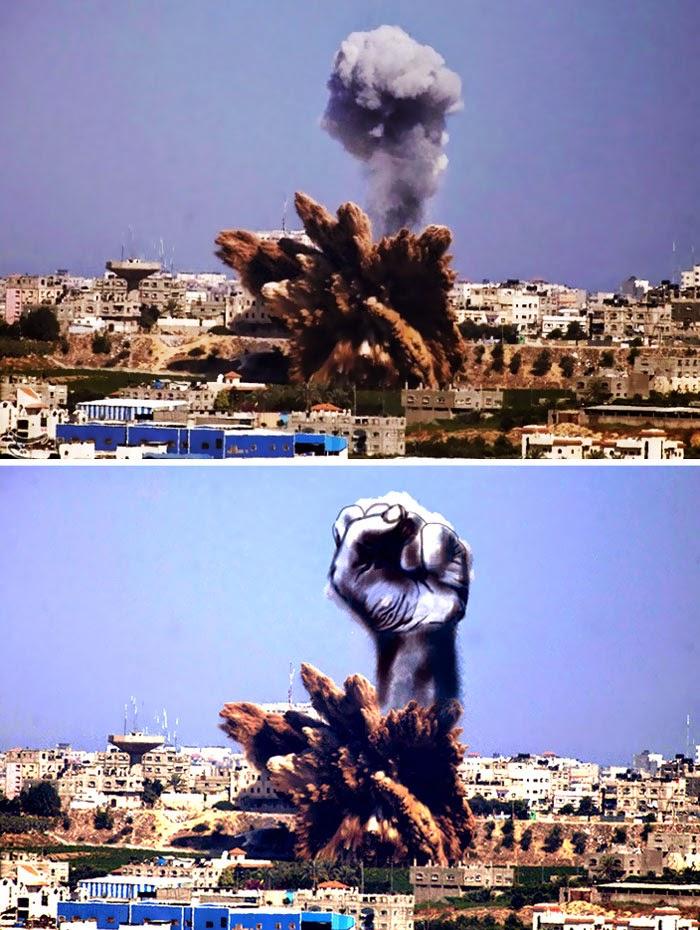 Warga Palestin Menukarkan Gambar Letupan Bom Kepada Sesuatu Yang Kreatif
