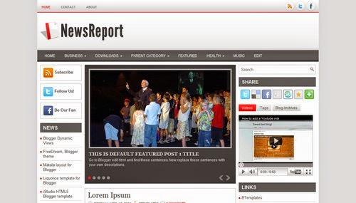 NewsReport - Free Blogger Template