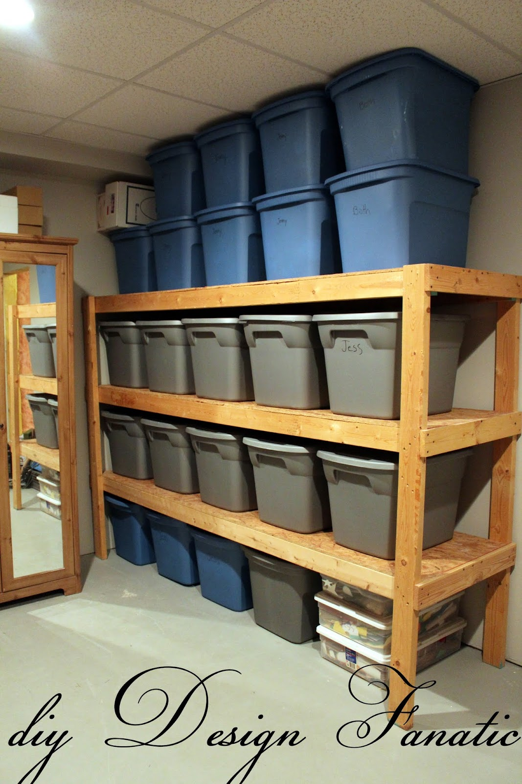 An easy way to build inexpensive basement storage shelves for 2 storage house