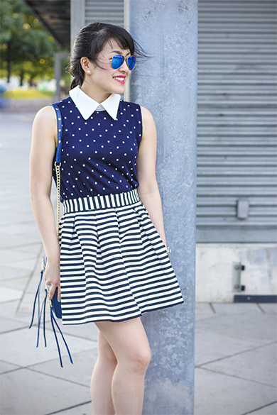 Zara polka dot top with contrasting collar with Rebecca Minkoff mini 5 zip bag