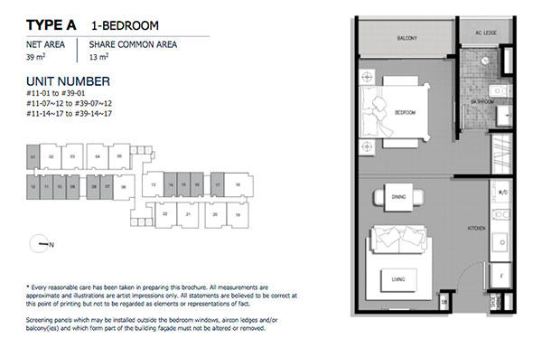 The Gateway @ Cambodia 1 Bedroom Floor Plan