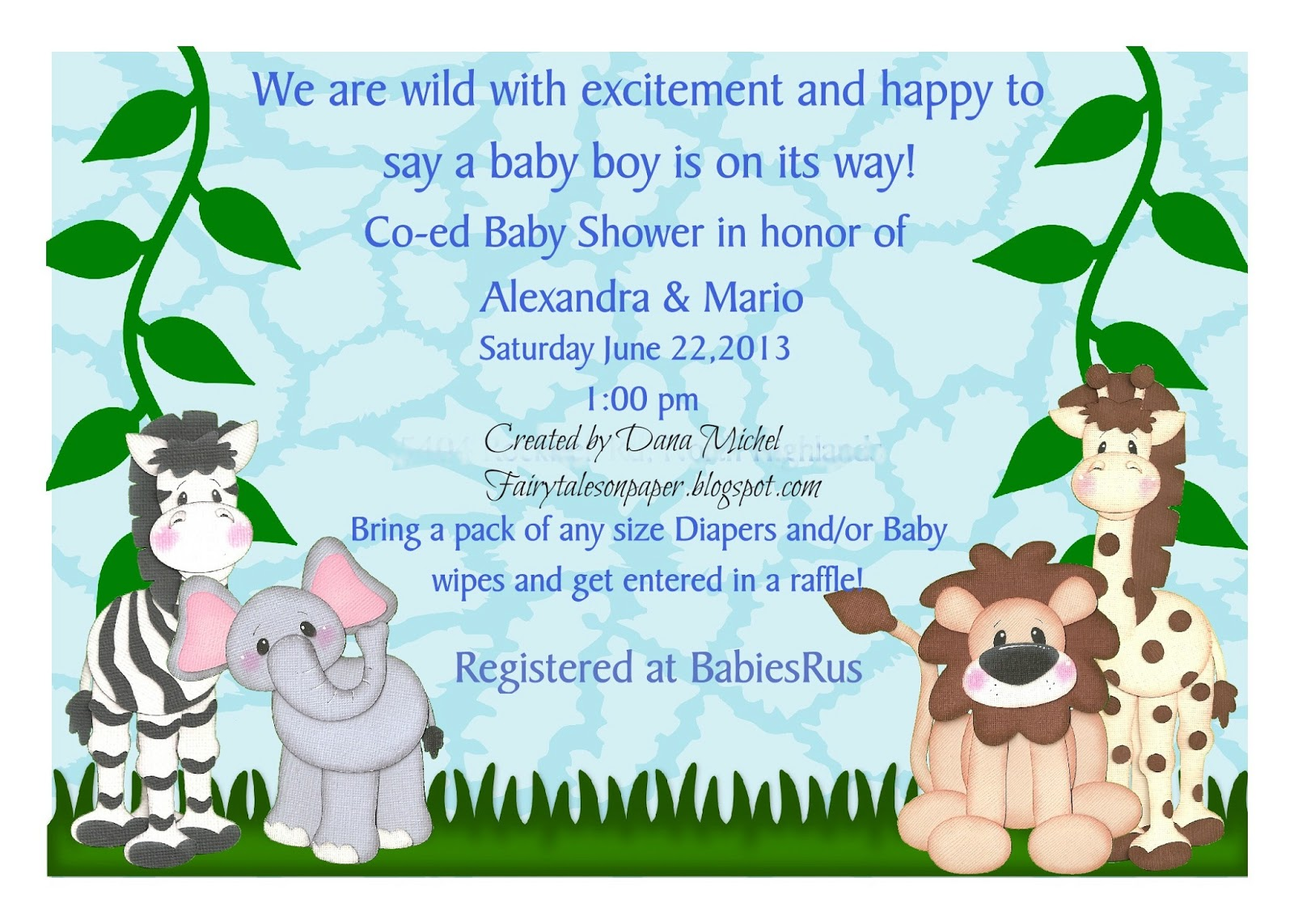 Fairy tales on paper baby shower invitation and guest book baby shower invitation and guest book stopboris Choice Image
