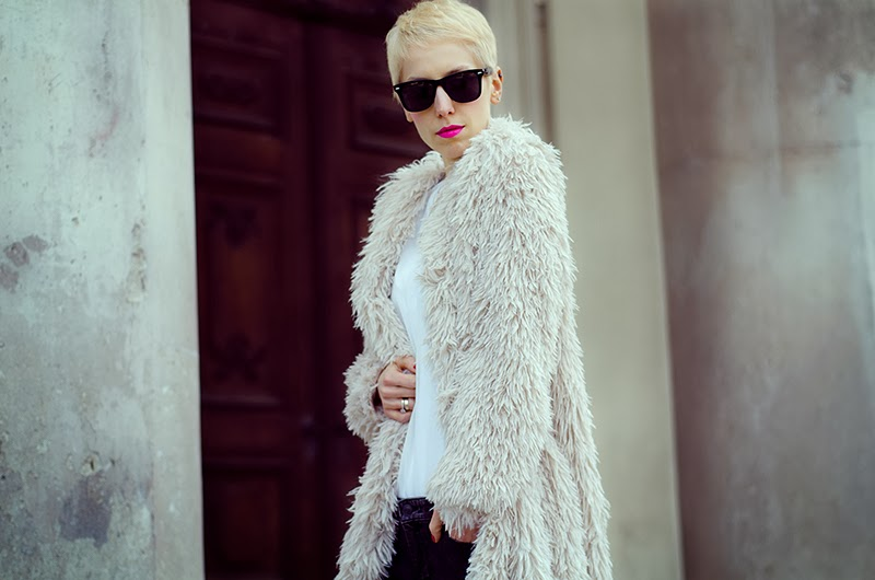 h&m long faux fur cardigan beeswonderland