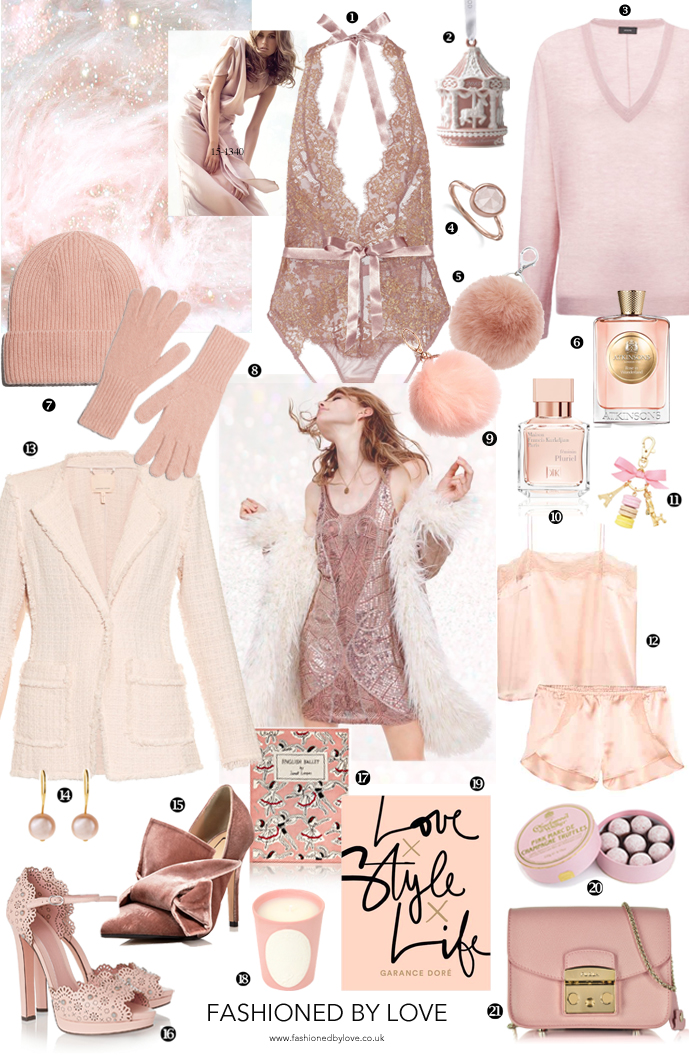 Most beautiful, sparkling and indulgent Christmas gifts for her in every shade of pink via www.fashionedbylove.co.uk