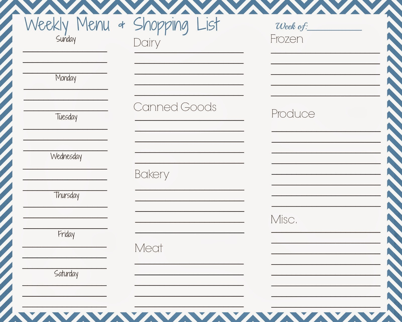 This yellow house menu planning for Menu planning template with grocery list
