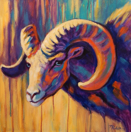Wildlife Art Of The West Painting Of Bighorn Sheep In Bright Colors