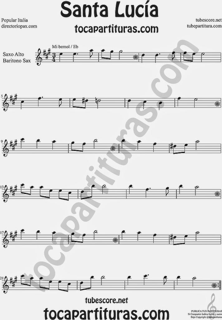 Santa Lucía Partitura de Saxofón Alto y Sax Barítono Sheet Music for Alto, Baritone Saxophone Music Scores Italian Popular