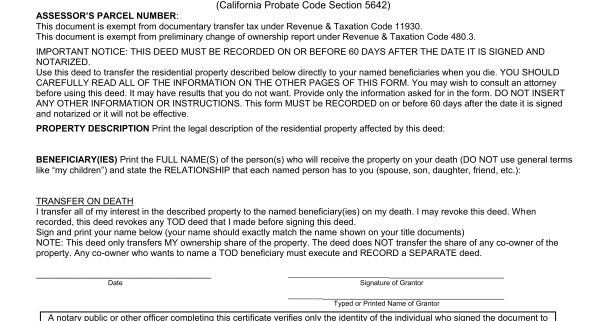 Los Angeles County Death Of Real Property Owner Form