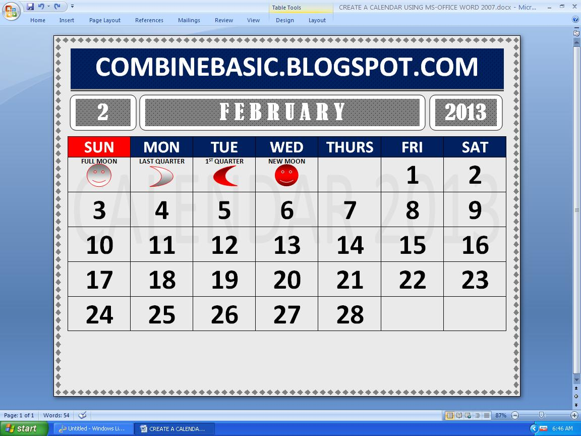 Create A Calendar Using Microsoft Word 2007 Version