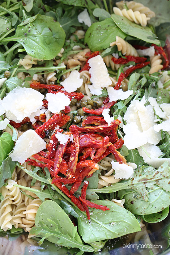 Summer Pasta Salad with Sun Dried Tomatoes and Baby Greens Summer Pasta Salad with Baby Greens