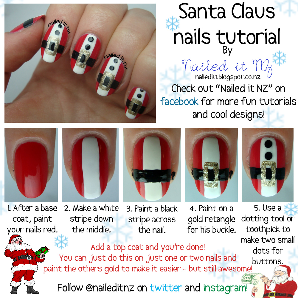 Santa Claus Nail Art Tutorial